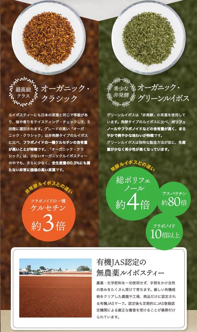 オーガニッククラシックとオーガニックグリーンルイボス茶葉の違い